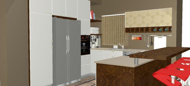 מטבח בדירת רווק, הדמיית מחשב, סגנון צעיר.