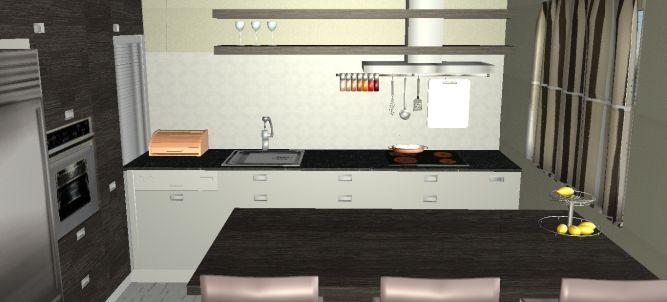 הדמיית מחשב של מטבח משפחה באשכולות