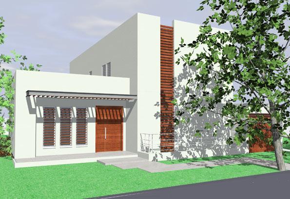 הדמיה ממוחשבת חזית בית פרטי מודרני