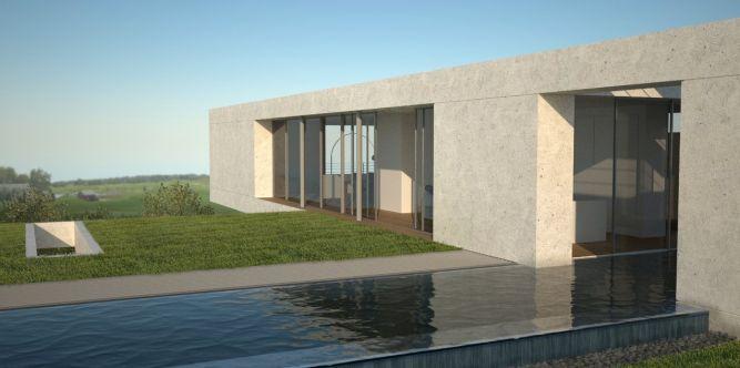 חזית בית פרטי עם בריכה בתכנון אדריכל יואב אנדרמן