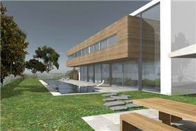 הדמיית מחשב חזית בית בתכנון אדריכל יואב אנדרמן