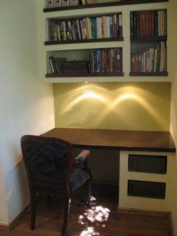 פינת עבודה נישות גבס לאחסון ספרים-אדר' שגית גולדשמידט