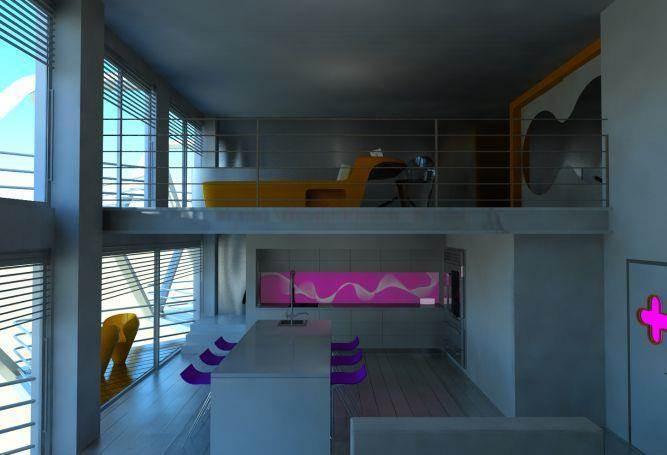 חלל מגורים, חלל כפול קומה תחתונה מטבח מרוח עם נגיעות סגולות, ורודות, קומה עליונה חדר רחצה פתוח עם נגיעות חרדליות.