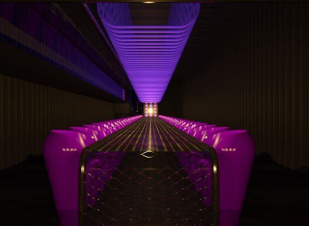 מסעדה עיצוב מיוחד אורות אולטרא סגולים.