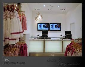 . EPK חנות בגדי ילדים עבור רשת עולמית, קניון ארנה. אזור הקופה. עוצב על ידי סטודיו ארטישוק.