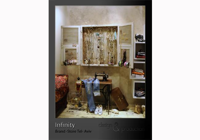 Infinity חנות קונספט של מותגי יוקרה, כיכר המדינה תל אביב. פרט משקוף חלון שהורכב מחלקים שונים עבור תצוגת האקססוריז בחנות- שימוש ברדי מייד.