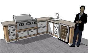 פרספקטיבה למיטבח בחצר בעיצוב כפרי כוללת מקרר, גריל, כיריים, משטח עבודה, כיור וארונות נירוסטה