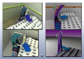 תכנון ועיצוב שלארונית למיטה בחדר אישפוז בבית חולים