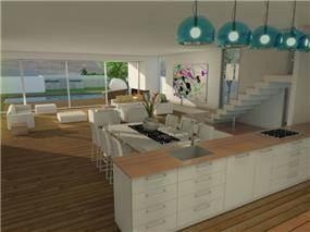 הדמייה של מטבח, סלון ופינת אוכל. עיצוב: בראון חלפין אדריכלים