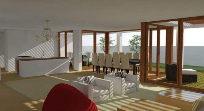 הדמייה של סלון,מטבח ופינת אוכל פתוחים במרחב אחד. תכנון: בראון חלפין אדריכלים