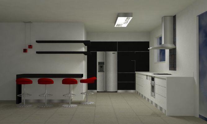 טליה עיצוב פנים ותאורה - הדמיית מטבח ללקוחות - פרוייקט בעבודה - צור יצחק