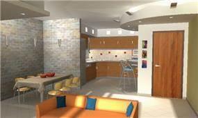 הדמיה - מבט מהסלון למטבח