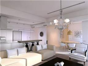 סלון בבית פרטי בפרוייקט הרחבה בקיבוץ חולדה, עיצוב יניב סולומון