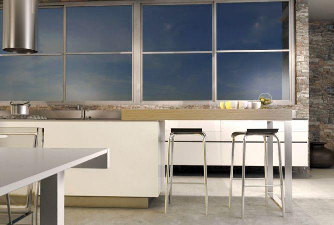 מבט מפינת האוכל למטבח, עיצוב יניב סולומון