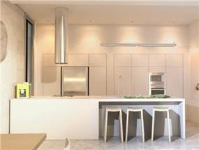 מטבח בסגנון מודרני עם קווים נקיים בעיצוב יניב סולומון