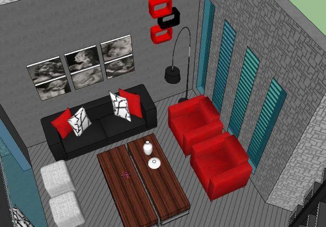 הדמיה לסלון מודרני (דירה - בכרמיאל)
