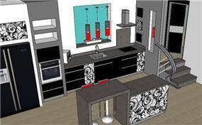 הדמיה למטבח מודרני (דירה - בכרמיאל)