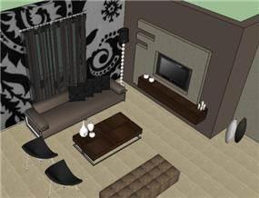 הדמיה לסלון מודרני-חמים