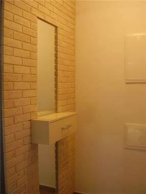 קיר דקורטיבי בשילוב מראה בכניסה לדירה