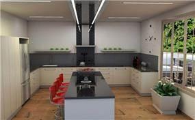 מטבח בעיצוב צעיר וקליל בגוונים בהירים בשילוב של עץ בוצ'ר. עיצוב של מגי דוידוב