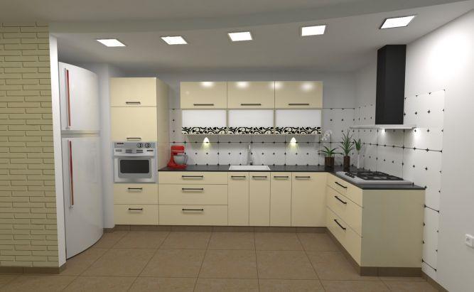 מטבח בשילוב קיר לבנים, עיצוב מגי דוידוב