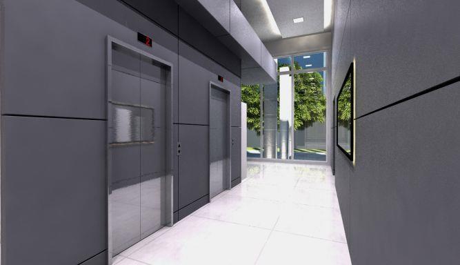 הדמייה של לובי בבניין מגורים בחולון. עיצוב: liorastyle