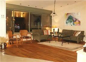 דוגמא לסלון מעוצב בדניה,עם פרקט בחיתוך מיוחד