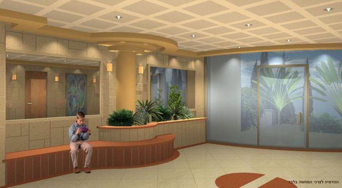 הדמיה ממוחשבת ללובי קיים בבניין ברמת אביב בתכנון יעל דיילס בכר
