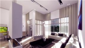 סלון בסגנון מודרני ונקי בעיצוב mind אדריכלים