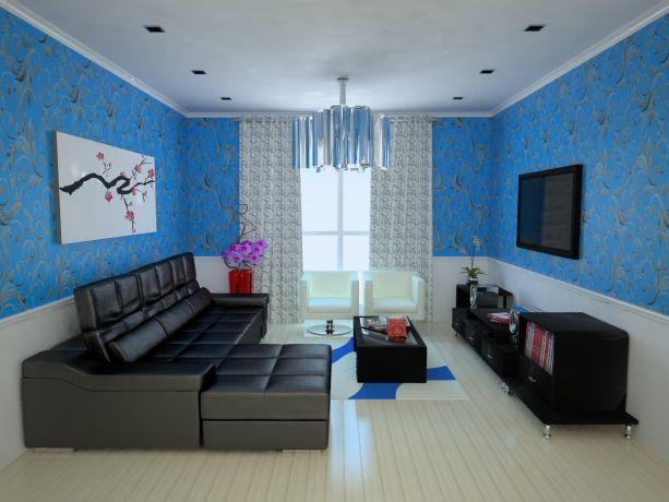 סלון מעוצב בצבעי שחור, לבן וכחול בשילוב אלמנטים אקלקטיים. עיצוב: Studio307