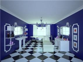 אמבטיה מעוצבת על טהרת הצבע הכחול. עיצוב: Studio307