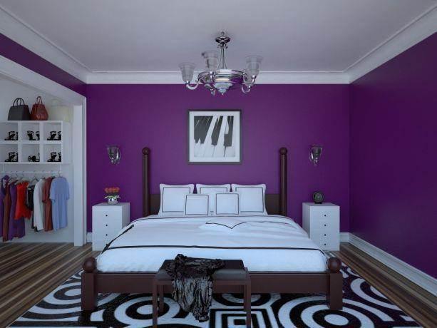 חדר שינה סגול ונועז בסגנון מודרני. עיצוב: Studio307