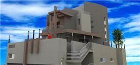 הדמייה לחזית בניין מפואר בעיצוב מחאמיד רסלאן