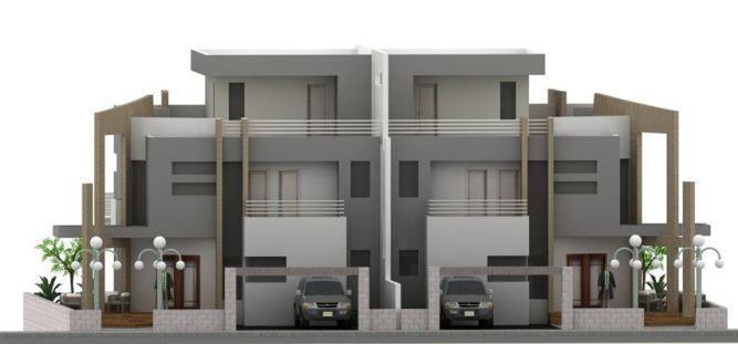 הדמיית חזית בית גדול עם שני חניות בתכנון מחמאיד רסלאן