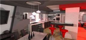 הדמית פנים בית בדגש על המטבח ופינת האוכל בתכנון מחאמיד רסלאן
