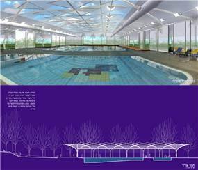 הדמיה של בריכת שחיה מקומרת - אהד יחיאלי, אדריכל