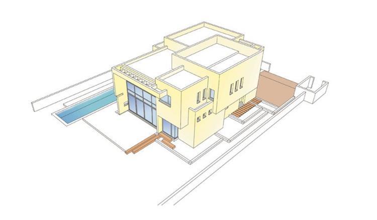 הדמיה ממוחשבת של בית פרטי דו קומתי של האדריכל אהד יחיאלי