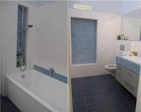 חדר אמבטיה בצבעי כחול ולבן, עיצוב מיכל גרינברג- פוקס