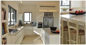 מטבח תחום באי בסגנון נקי ורך בעיצוב מיכל גרינברג פוקס