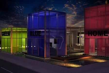 הדמית ערב-משרד מכירות לחב' בנייה ירוקה-קונספט ''קוביות משחק'' בכל אחת מהן עובר הלקוח חוויה אינטראקטיבית. תכנון: חיה ברק