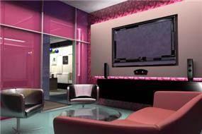 הדמיה-קוביית ה- HOME בצבע המג'נטה תשמש כנקודת המכירה של דירות הפרוייקט-באווירת סלון ובהדמייה ממוחשבת של הפרוייקט.תכנון: חיה ברק