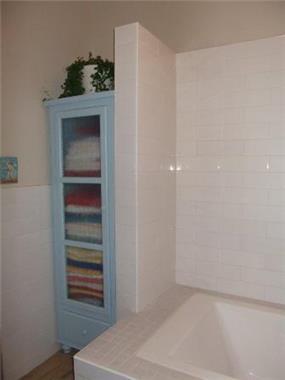 ארון אחסון למגבות שנותן נקודה של צבע. חדר אמבטיה בעיצוב חיה ברק