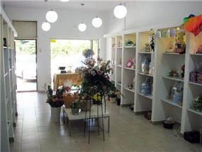 מבט רחב על חנות מעוצבת של פרחים ומתנות בדגש על פתרונות האחסון, בעיצוב ותכנון של בליץ דיזיין