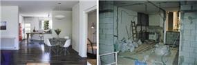 סלון במבט לפני ואחרי שיפוץ כולל ועיצוב של דלית לילינטל