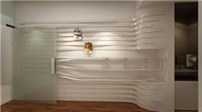 מבט פרונטלי לעמדת המידע בסטודיו 6B בעל קיר התורם לאלמנט התנועתי בעיצוב ותכנון של דלית לילינטל