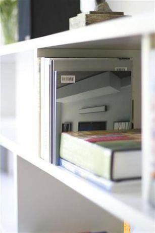 מבט תקריב לספריה מעוצבת הממוקמת בסלון