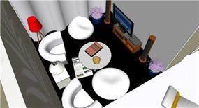 הדמייה לחדר משפחה -ניצול מקום מקסימלי ונוח - בתכנון סטודיו בתים