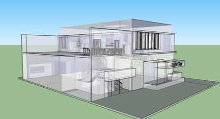 הדמיה לחזית בית עם שיקוף לחלליו בתכנון סטודיו פרטים