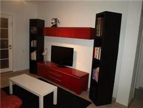 סלון עם מזנון אדום במראה מודרני בעיצוב ותכנון שרי בר-נע גבעון