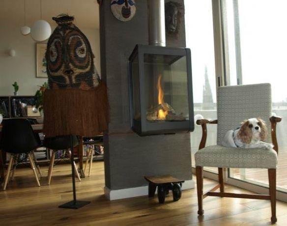 חדר עבודה בדירה מעוצבת בסגנון לופט עם אלמנטים אתניים. עיצוב: שרי בר נע גבעון